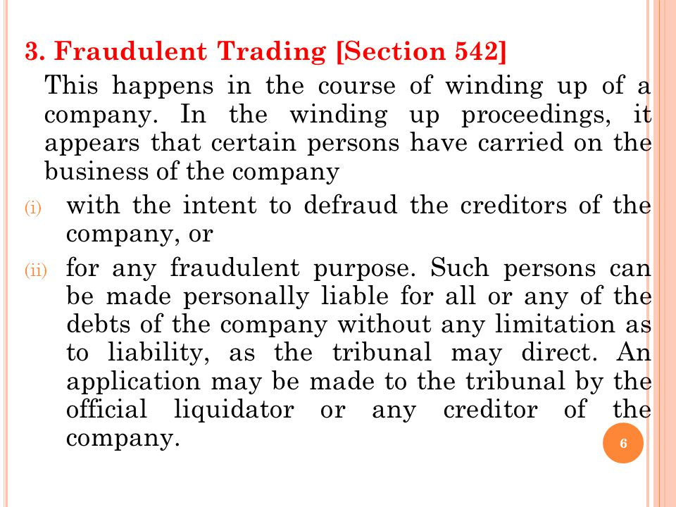 3. Fraudulent Trading [Section 542]